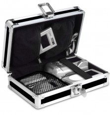 Vaultz Locking Gadget Box, Black with Chrome Accents